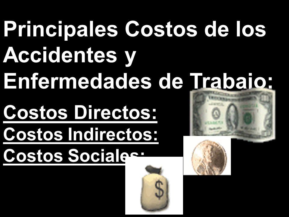 Principales Costos de los Accidentes y Enfermedades de Trabajo: Costos Directos: Costos Indirectos: Costos Sociales: