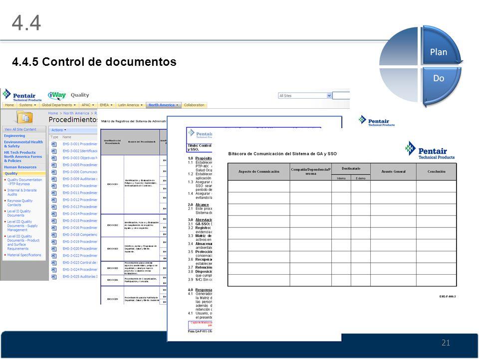 4.4 4.4.5 Control de documentos 21