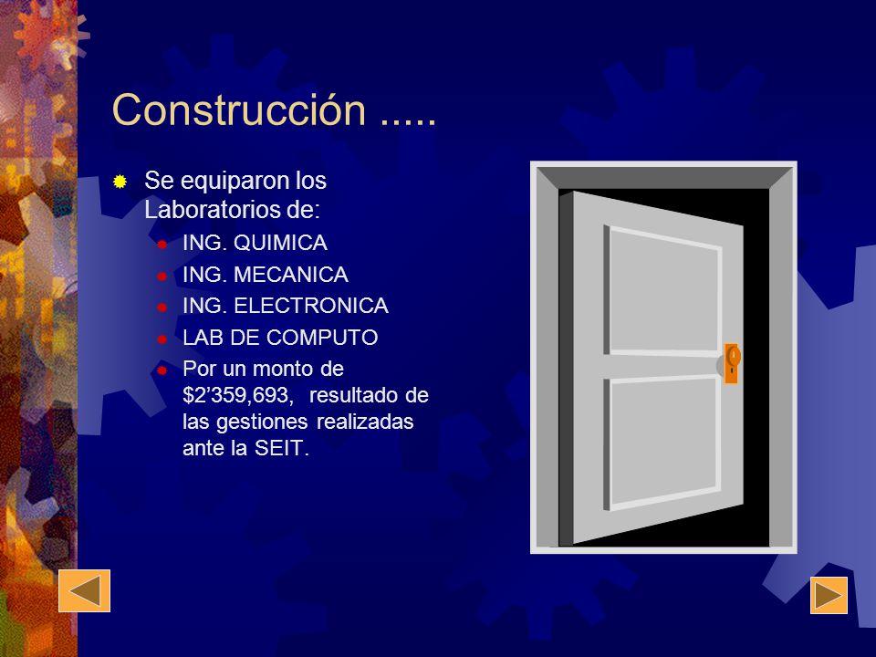 Construcción ..... Se equiparon los Laboratorios de: ING. QUIMICA