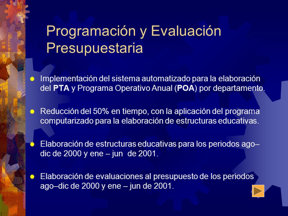 Programación y Evaluación Presupuestaria