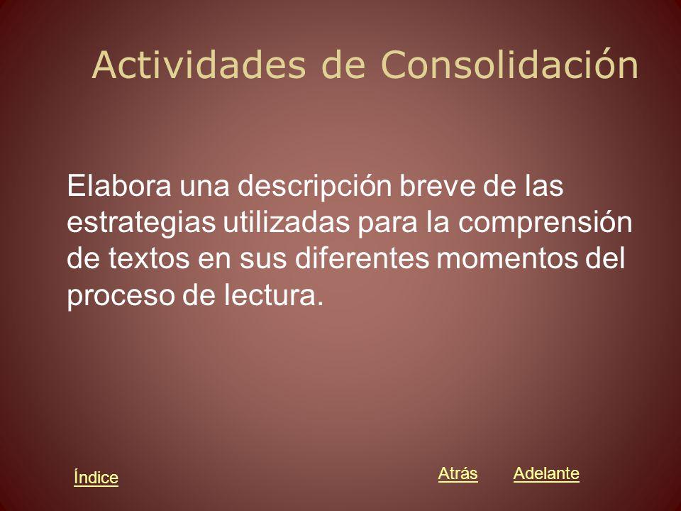Actividades de Consolidación