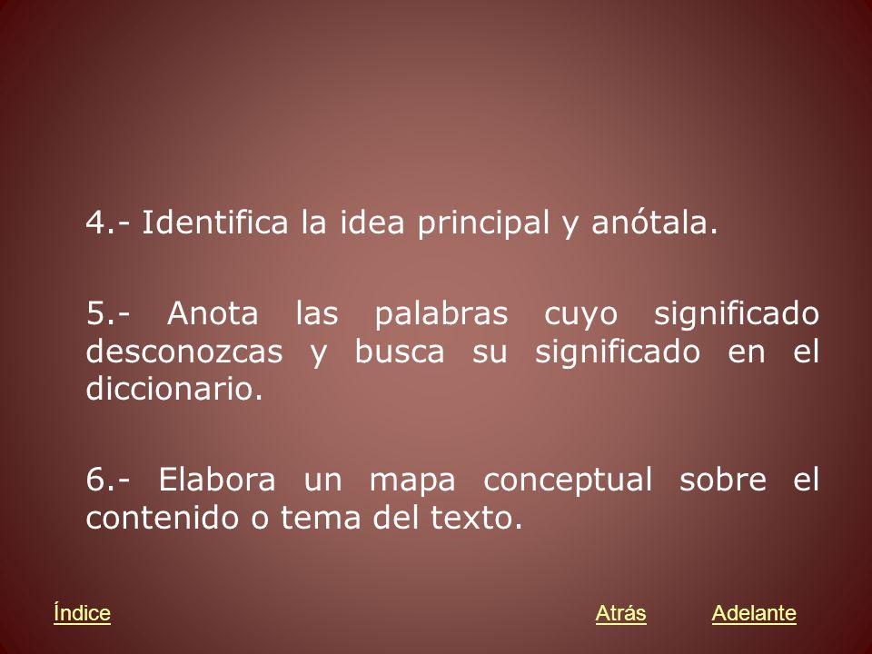 4.- Identifica la idea principal y anótala.