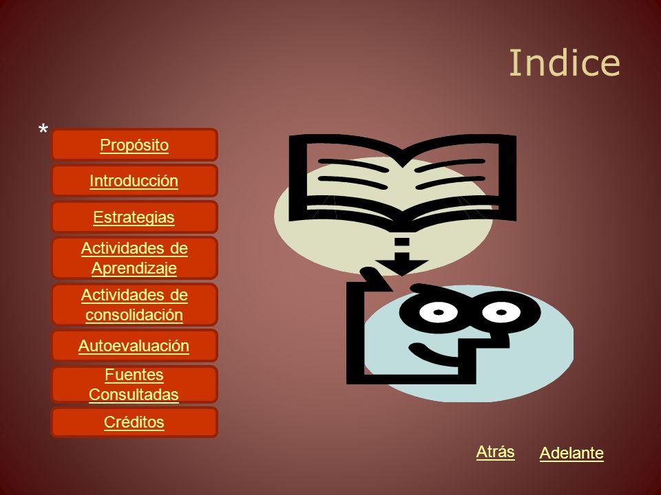 Indice * Propósito Introducción Estrategias Actividades de Aprendizaje