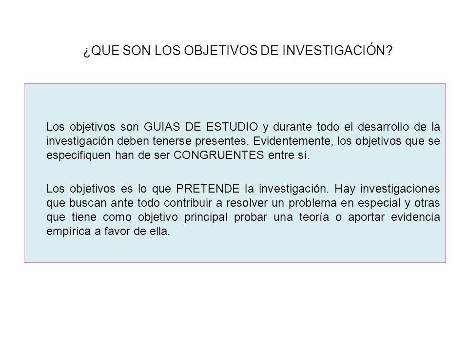 ¿QUE SON LOS OBJETIVOS DE INVESTIGACIÓN