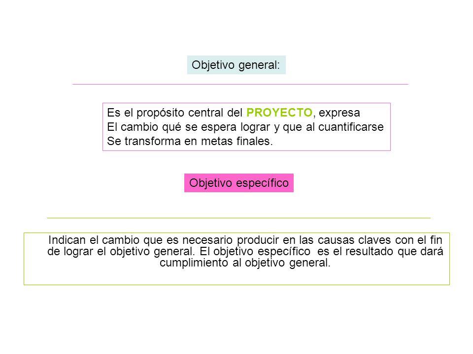Objetivo general: Es el propósito central del PROYECTO, expresa. El cambio qué se espera lograr y que al cuantificarse.