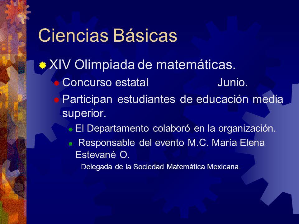 Ciencias Básicas XIV Olimpiada de matemáticas. Concurso estatal Junio.