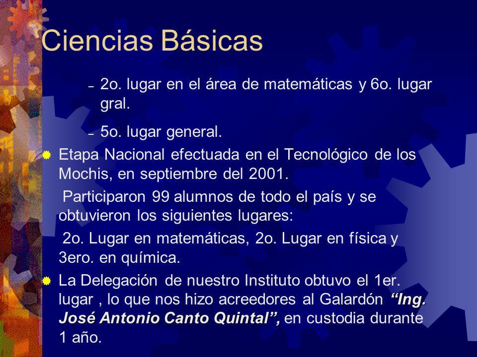 Ciencias Básicas 2o. lugar en el área de matemáticas y 6o. lugar gral.