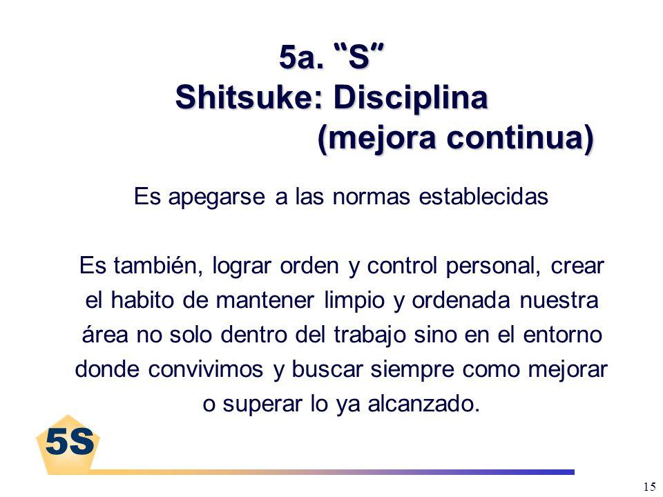 5a. S Shitsuke: Disciplina (mejora continua)