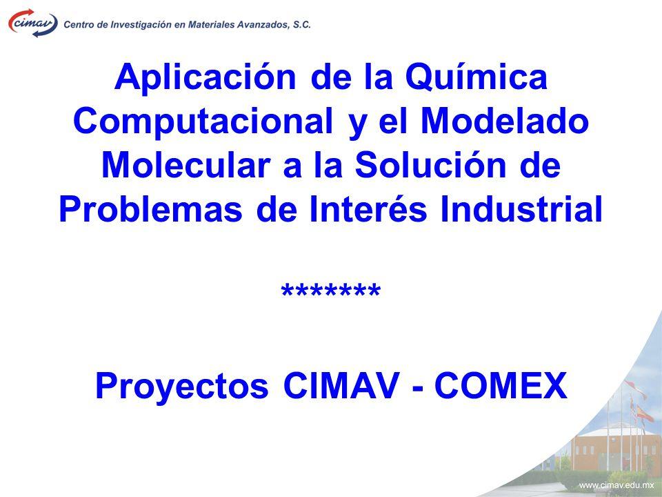 Aplicación de la Química Computacional y el Modelado Molecular a la Solución de Problemas de Interés Industrial ******* Proyectos CIMAV - COMEX