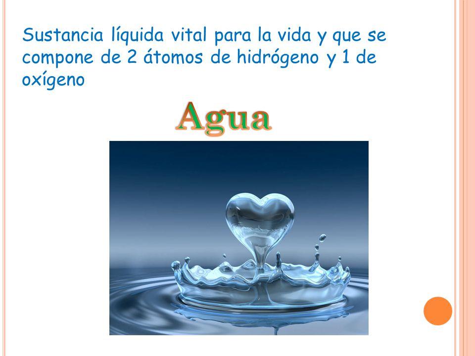 Sustancia líquida vital para la vida y que se compone de 2 átomos de hidrógeno y 1 de oxígeno