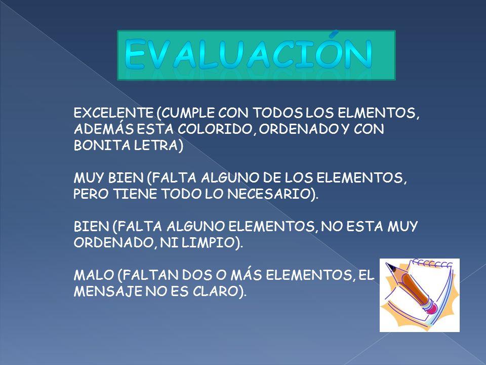 Evaluación EXCELENTE (CUMPLE CON TODOS LOS ELMENTOS, ADEMÁS ESTA COLORIDO, ORDENADO Y CON BONITA LETRA)