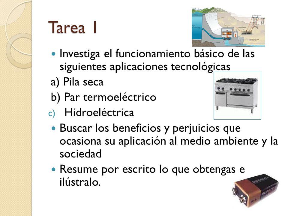Tarea 1 Investiga el funcionamiento básico de las siguientes aplicaciones tecnológicas. a) Pila seca.