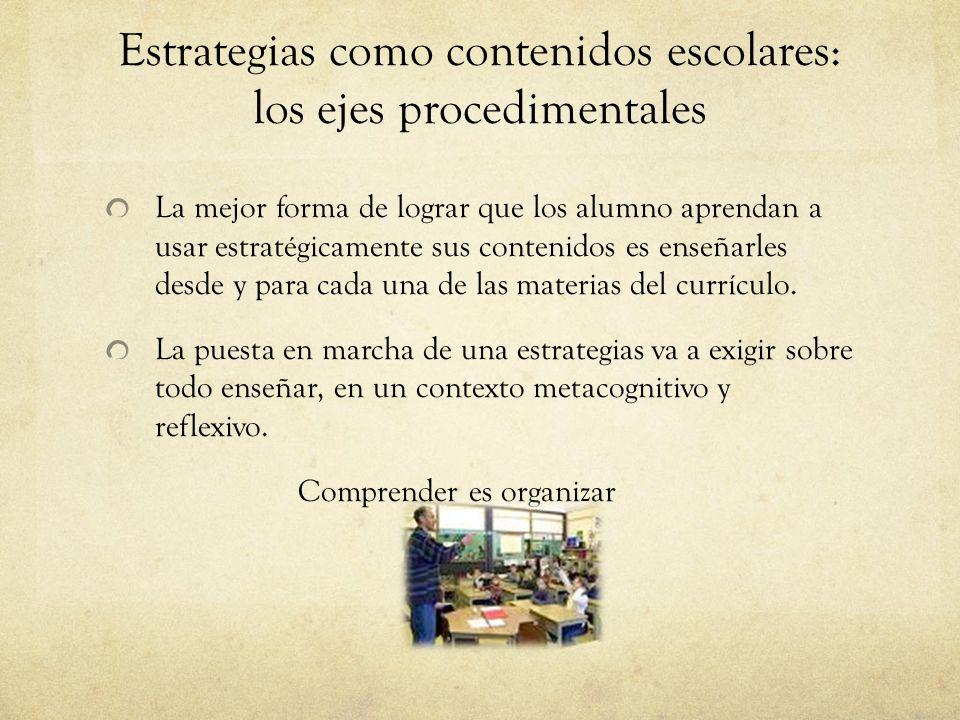 Estrategias como contenidos escolares: los ejes procedimentales
