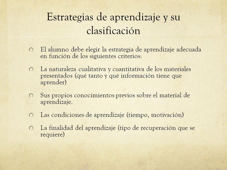 Estrategias de aprendizaje y su clasificación