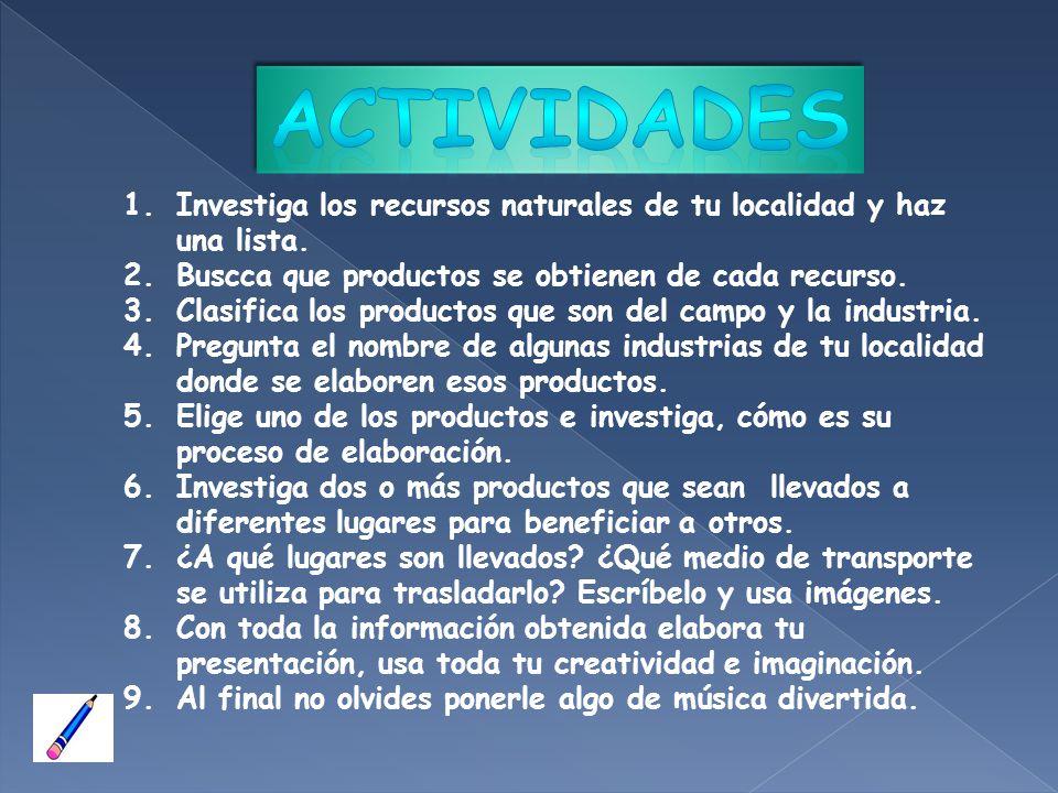 Actividades Investiga los recursos naturales de tu localidad y haz una lista. Buscca que productos se obtienen de cada recurso.