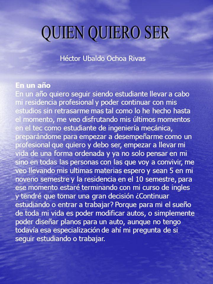 QUIEN QUIERO SER Héctor Ubaldo Ochoa Rivas En un año