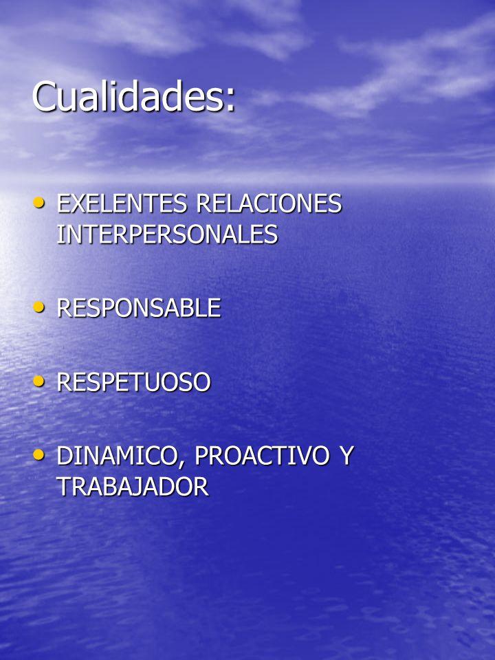 Cualidades: EXELENTES RELACIONES INTERPERSONALES RESPONSABLE