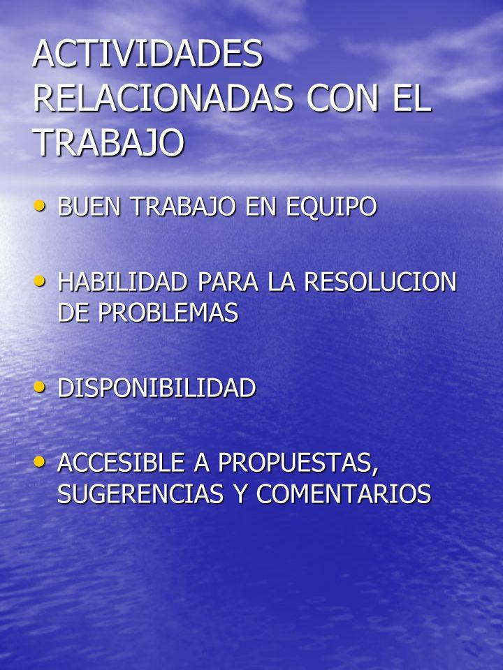 ACTIVIDADES RELACIONADAS CON EL TRABAJO