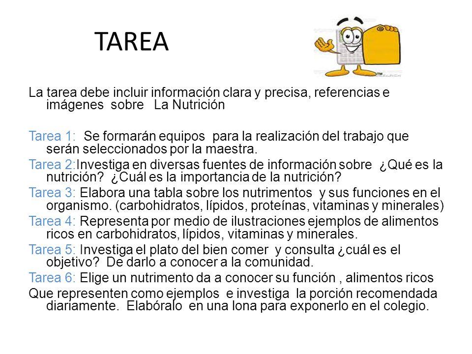 TAREA La tarea debe incluir información clara y precisa, referencias e imágenes sobre La Nutrición.