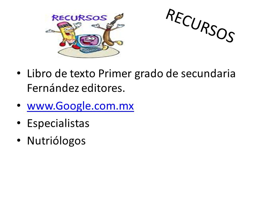 RECURSOS Libro de texto Primer grado de secundaria Fernández editores.