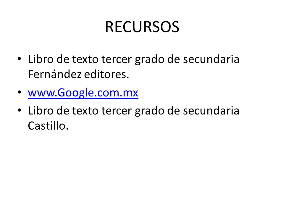 RECURSOS Libro de texto tercer grado de secundaria Fernández editores.