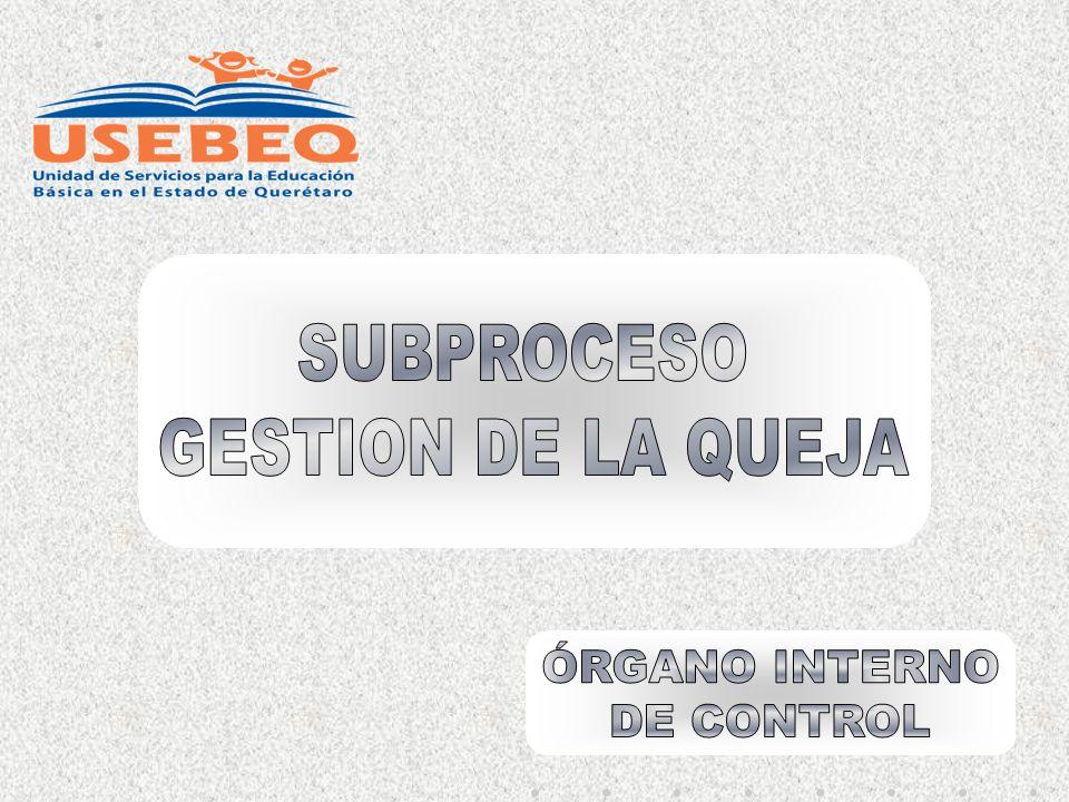 SUBPROCESO GESTION DE LA QUEJA ÓRGANO INTERNO DE CONTROL