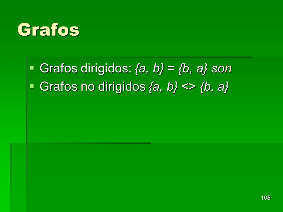 Grafos Grafos dirigidos: {a, b} = {b, a} son