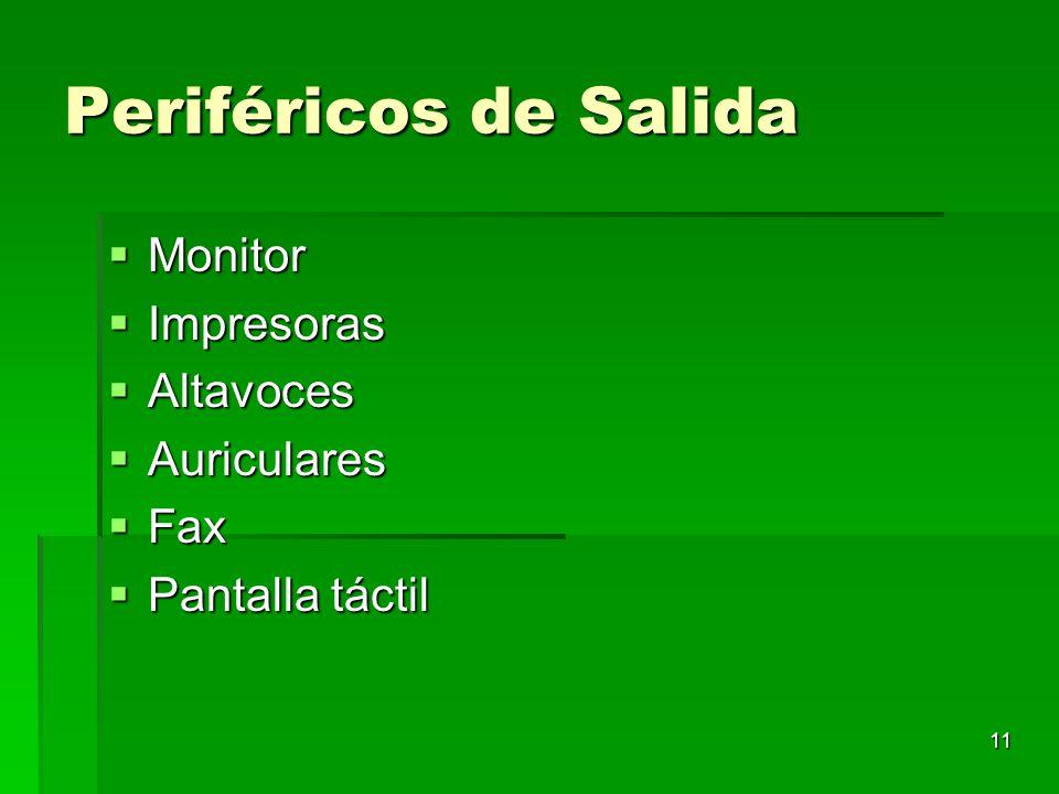 Periféricos de Salida Monitor Impresoras Altavoces Auriculares Fax