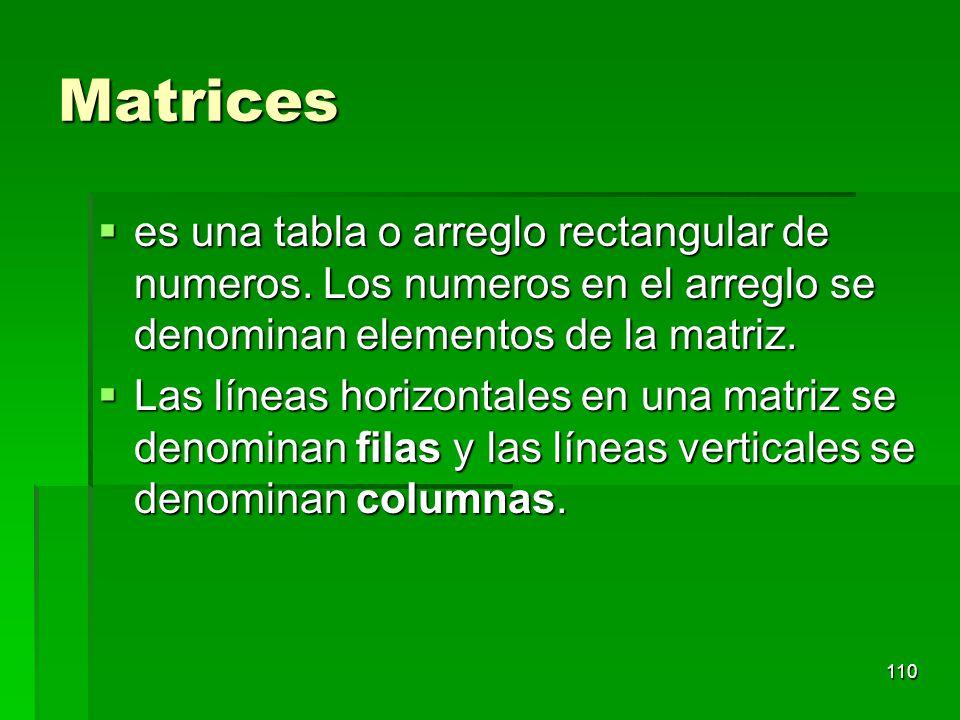 Matrices es una tabla o arreglo rectangular de numeros. Los numeros en el arreglo se denominan elementos de la matriz.