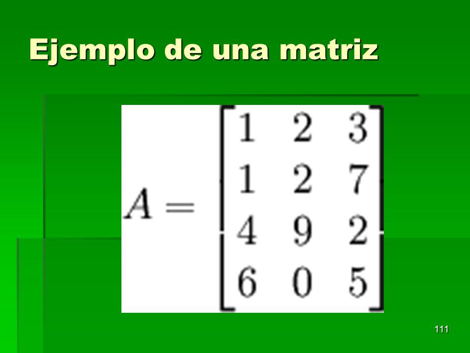 Ejemplo de una matriz
