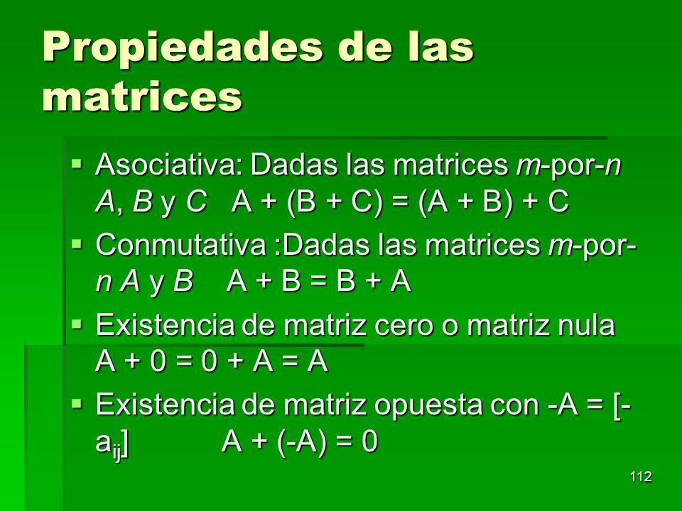 Propiedades de las matrices
