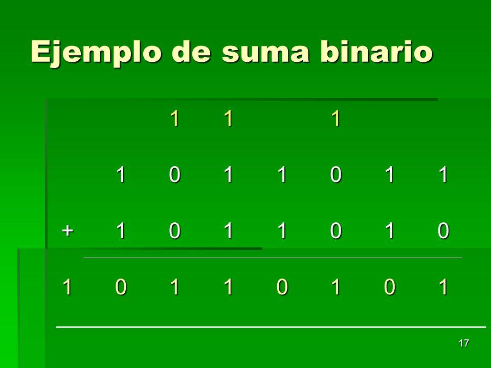 Ejemplo de suma binario