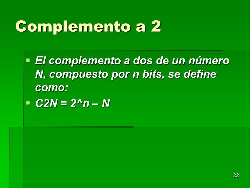 Complemento a 2 El complemento a dos de un número N, compuesto por n bits, se define como: C2N = 2^n – N.
