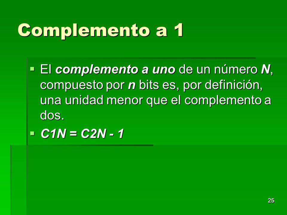 Complemento a 1 El complemento a uno de un número N, compuesto por n bits es, por definición, una unidad menor que el complemento a dos.