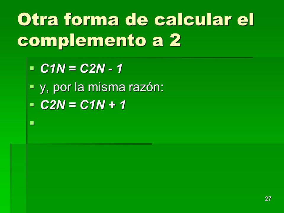 Otra forma de calcular el complemento a 2