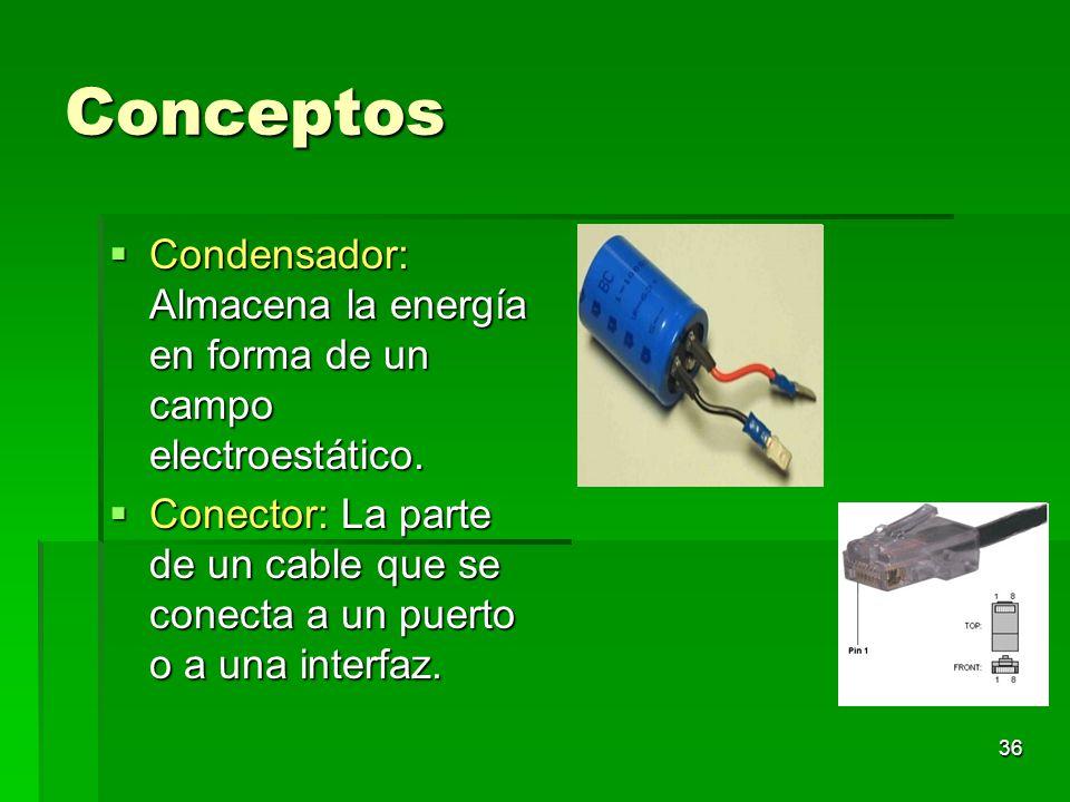 Conceptos Condensador: Almacena la energía en forma de un campo electroestático.