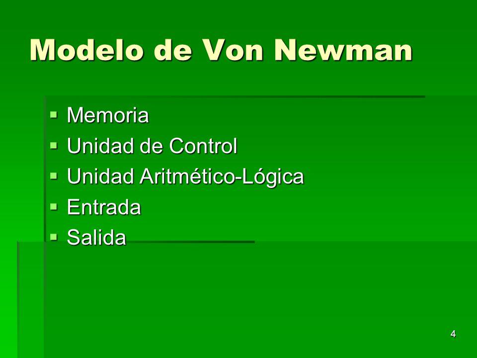 Modelo de Von Newman Memoria Unidad de Control
