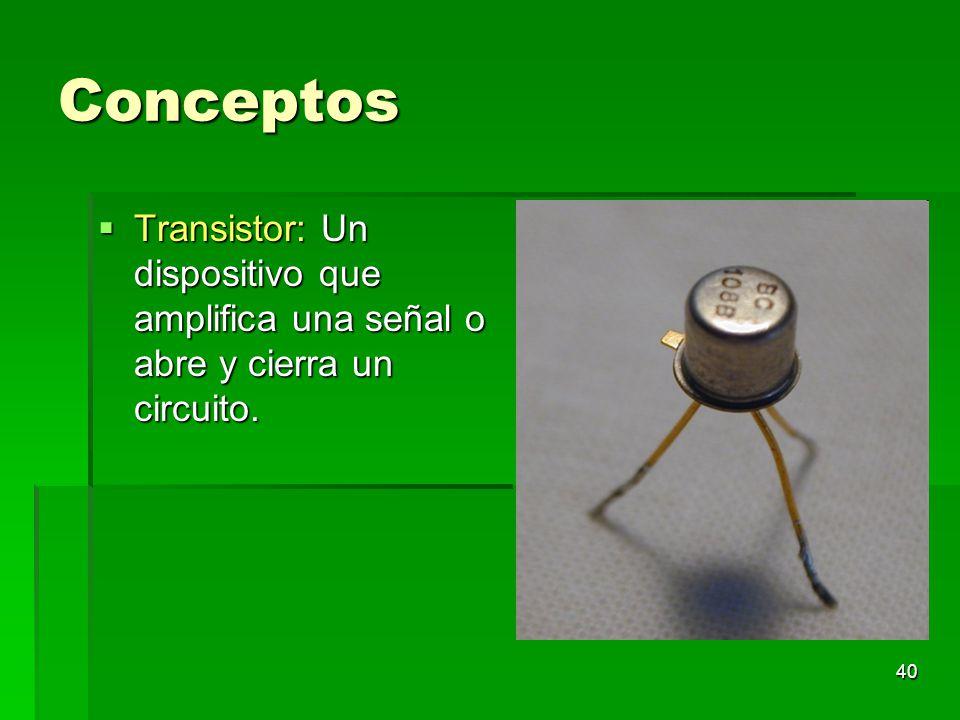 Conceptos Transistor: Un dispositivo que amplifica una señal o abre y cierra un circuito.