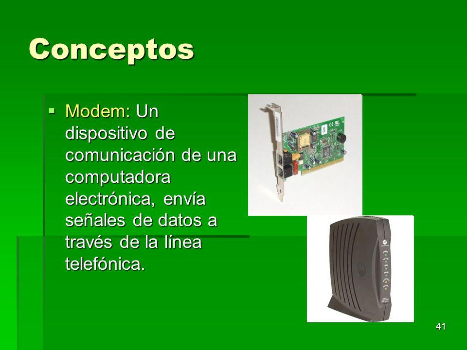 Conceptos Modem: Un dispositivo de comunicación de una computadora electrónica, envía señales de datos a través de la línea telefónica.
