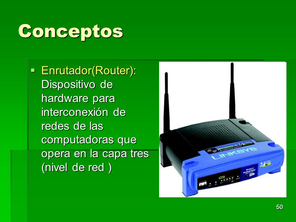 Conceptos Enrutador(Router): Dispositivo de hardware para interconexión de redes de las computadoras que opera en la capa tres (nivel de red )