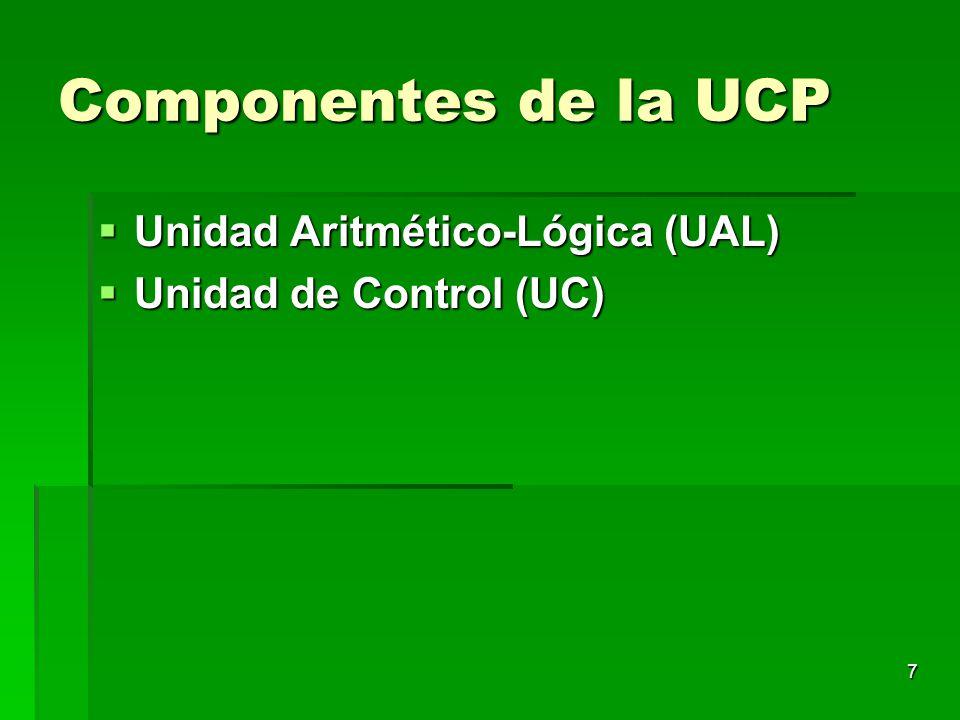 Componentes de la UCP Unidad Aritmético-Lógica (UAL)