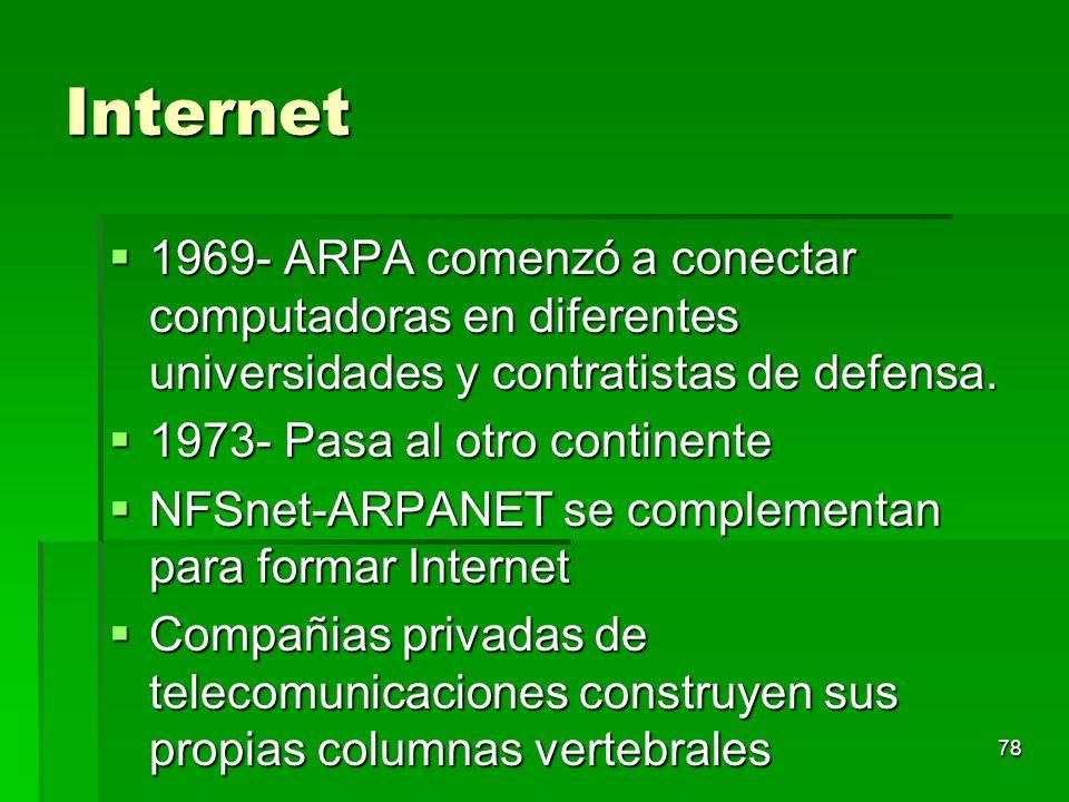 Internet 1969- ARPA comenzó a conectar computadoras en diferentes universidades y contratistas de defensa.