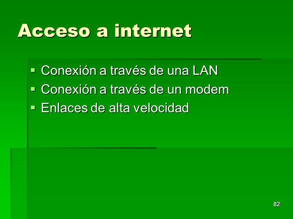 Acceso a internet Conexión a través de una LAN