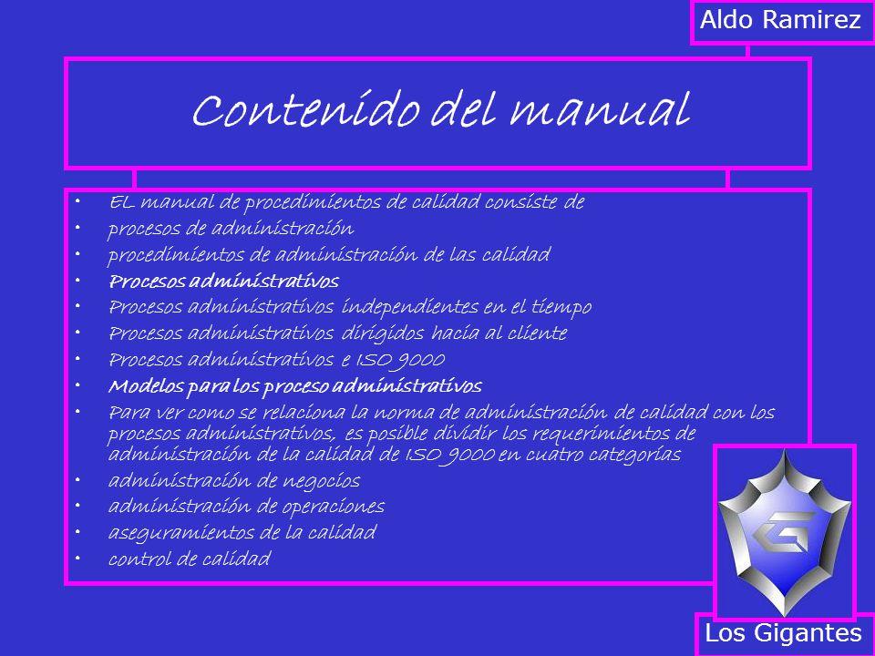 Contenido del manual Aldo Ramirez Los Gigantes
