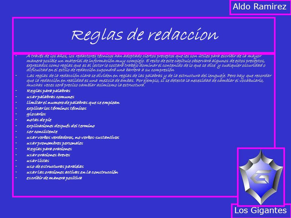 Reglas de redaccion Aldo Ramirez Los Gigantes