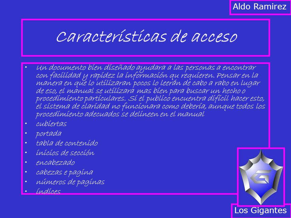 Características de acceso