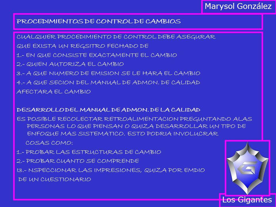 PROCEDIMIENTOS DE CONTROL DE CAMBIOS