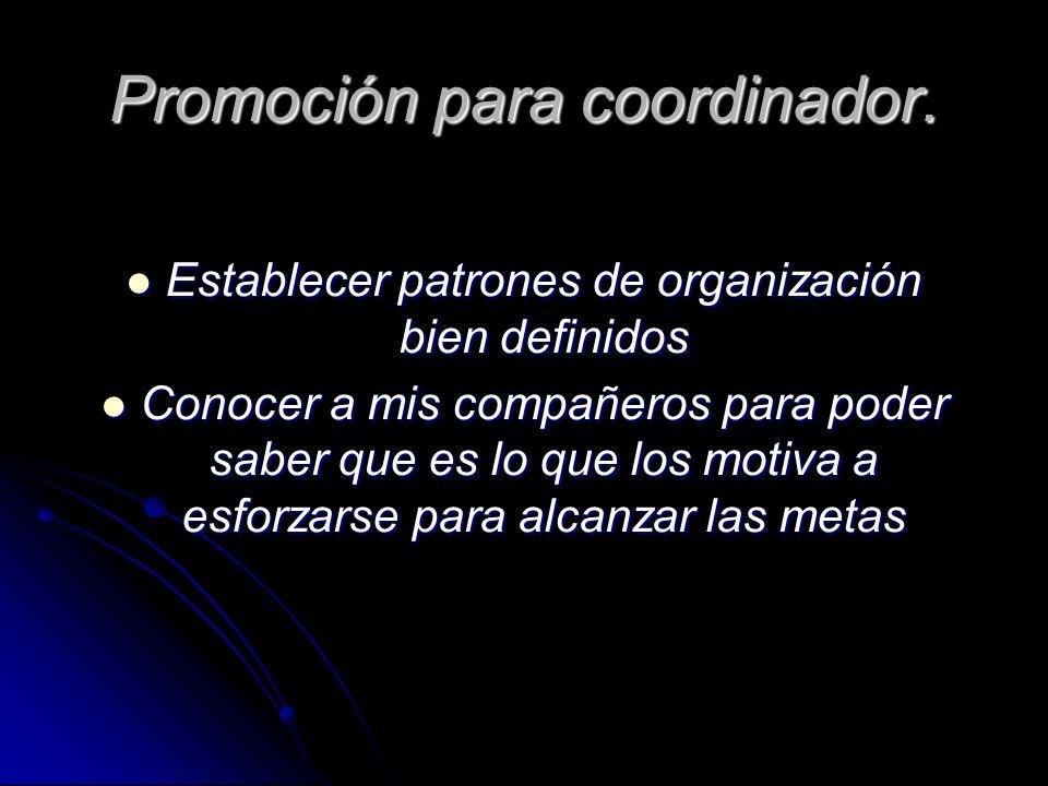 Promoción para coordinador.