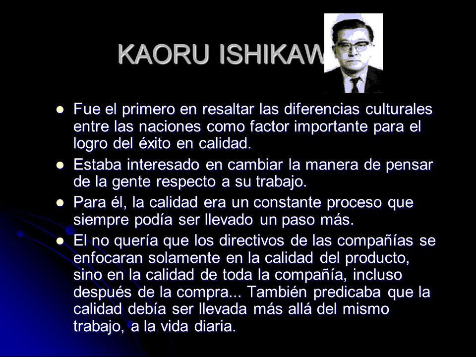 KAORU ISHIKAWA Fue el primero en resaltar las diferencias culturales entre las naciones como factor importante para el logro del éxito en calidad.