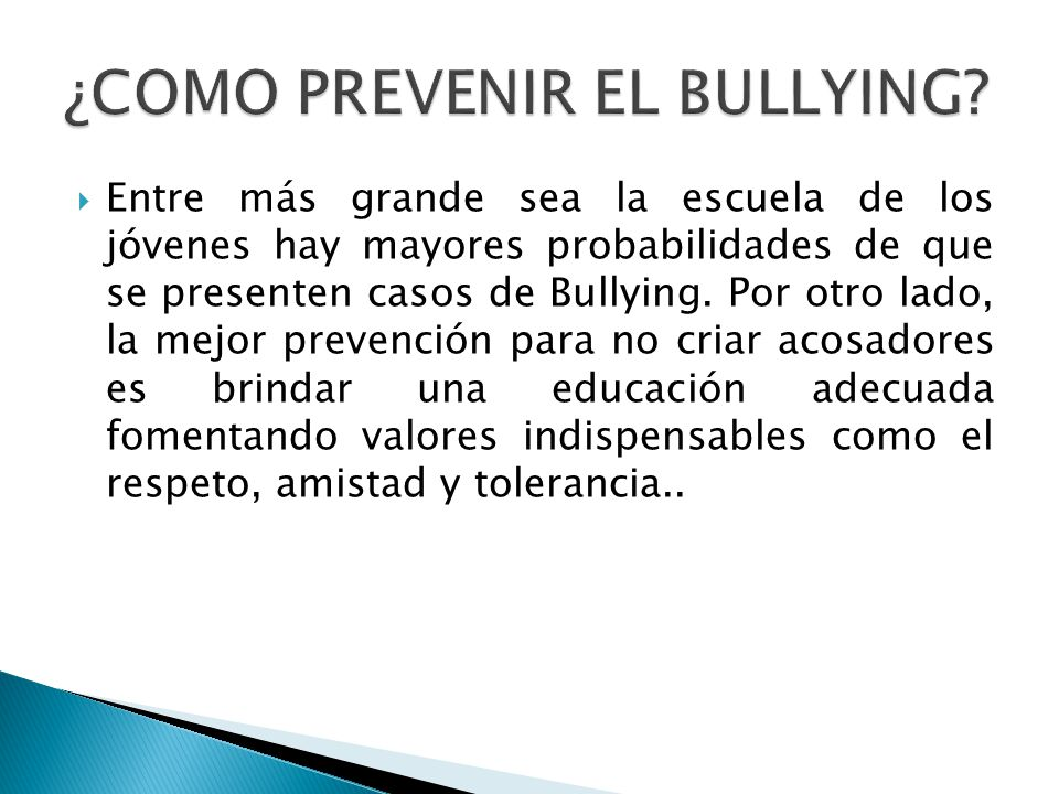 ¿COMO PREVENIR EL BULLYING